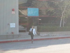 Leaving Warner Brothers lot after interviewing the lady whose name is on the sign: Burbank, 2008.