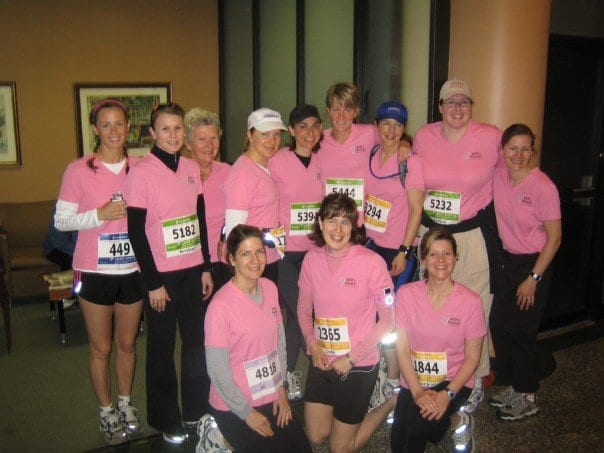 """""""Will's Harem -- we are running on Will power"""", raising funds for children with epilepsy, in memory of our friend, Will: Halifax, 2006."""